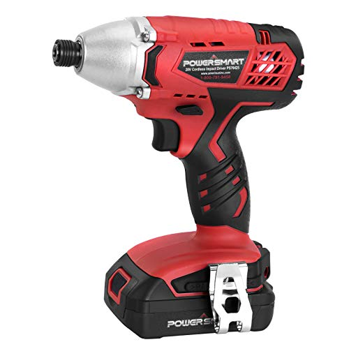 Impact Driver - 1/4 inch Hex Chuck, 1600 in-lbs Torque, 20V Lithium-ion Battery and Charger | PowerSmart Cordless Driver