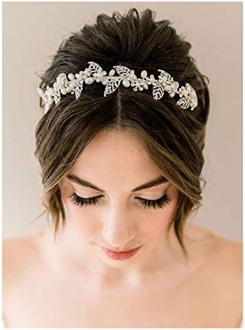 SWEETV Pearl Bridal Headband Silver Tiara for Bride Headpiece Crystal Leaf Wedding Hair Accessories product image