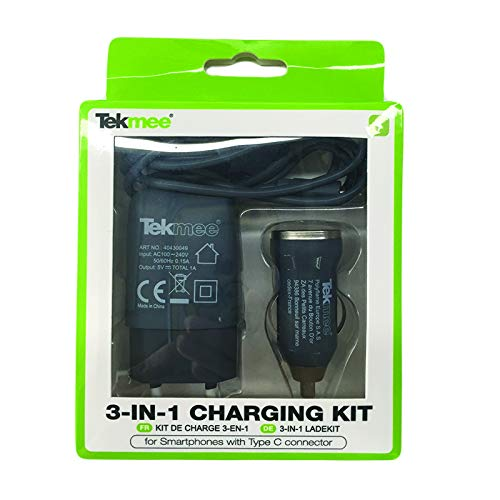 Travel Kit 3 en 1 - Cargador de Pared + Cargador de Coche y Cable USB Tipo C