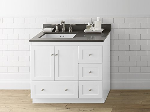RONBOW Shaker 36 Inch Bathroom Vanity Base Cabinet with Soft Close Wood Door, Left Cabinet Drawer and Adjustable Shelf in White 081936-3L-W01