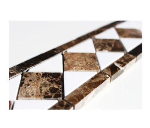 Bordo adesivo per muro in pietra effetto marmo Classic piastrelle d'acero - 265 mm x 75 mm
