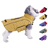 ThinkPet Dog Cold Weather Coats - Cozy Waterproof Windproof Reversible Winter Dog Jacket, Thick Padded Warm Coat Reflective Vest Clothes for Puppy Small Medium Large Dogs S Yellow