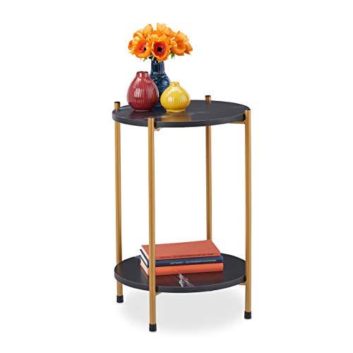Relaxdays Beistelltisch Marmoroptik, 2 Ablagen, für Wohnzimmer, Metall, MDF, Sofatisch rund, HxD 55,5x40cm, schwarz/Gold