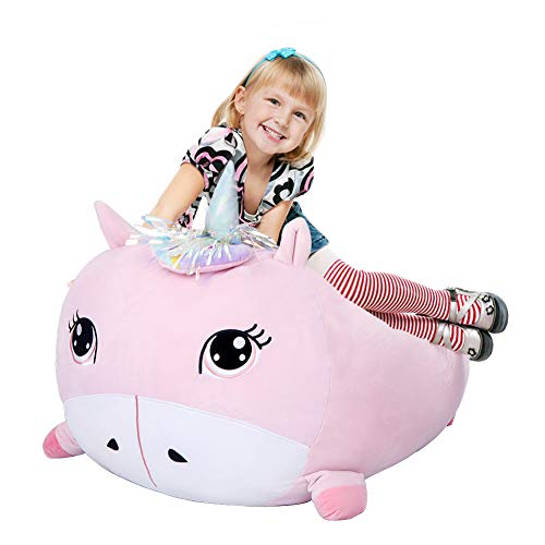 Unicorn Stuffed Animals Storage Bean Bag Chair Cover Now $15.48