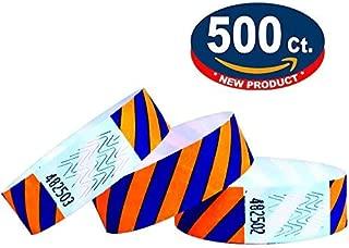 Tyvek Wristbands - Striped - 500 Pack - Neon Orange + Blue - 3/4