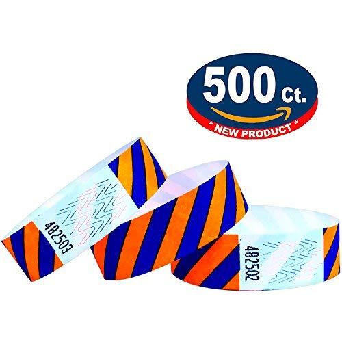 Tyvek wristbands striped (Orange-Blue, 500 Pack)