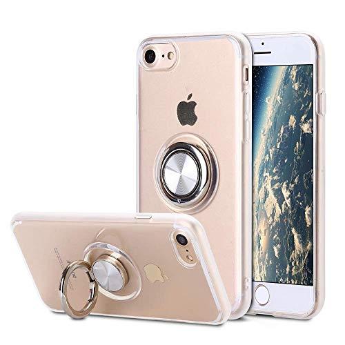 SORAKA Funda Transparente para iPhone 8 iPhone 7 iPhone SE 2020 con Anillo Giratorio de 360 Grados y Placa de Metal Compatible con Soporte Móvil Coche Magnético,Ultradelgado Carcasa de TPU Suave