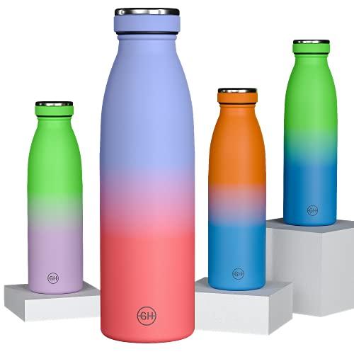 GH Botella de Agua acero Inoxidable 500ml Naranja Rubí Lila | Frasco de Agua de Metal Reutilizable | Botella Termica Doble pared al vacío | Botella de bebida reutilizable Sin BPA ,Antigoteo y Fugas