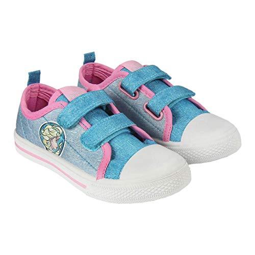 Canvas Sneakers Schoenen Meisje Frozen Elsa Disney | Zonder Snaren met Klittenband | Lichtblauwe Roze | Maten van 24 tot 31
