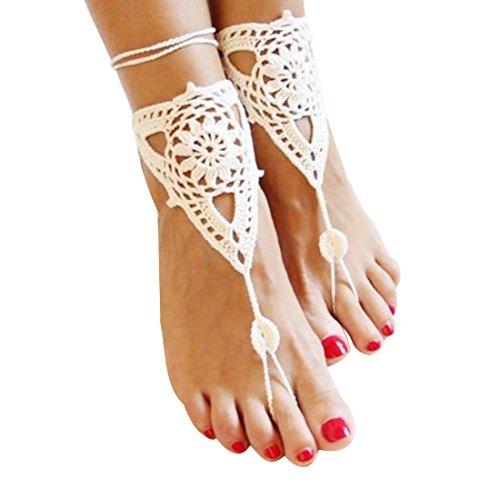 Demarkt Strand Kette Fußkette Zehenkette Fußschmuck Baumwolle Weiß