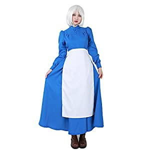 miccostumes Women's Sophie Maid Blue Dress Cosplay Costume with White Apron