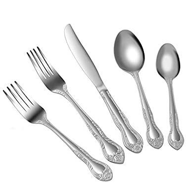 20-Piece Flatware Set, Harvest Pattern Silverware Mirror Polished Restaurant Grade Stainless Steel Cutlery, Service for 4, Dishwasher safe