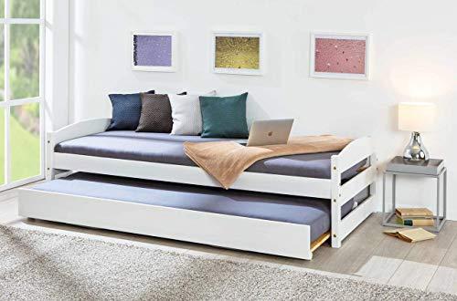 Inter Link 2 in 1 Bett Sofabett mit 2 Liegeflächen Massivholz weiss 90 x 200 cm Gästezimmer Kinderzimmer Jugendzimmer...