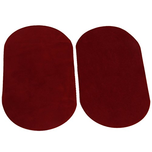 1 Pair Oval Flocking Fabric Iron on Elbow Knee Patches 18x11cm (Red)