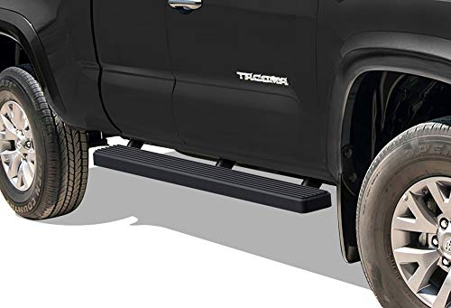APS iBoard Running Boards 4 inches Matte Black Custom Fit 2005-2020 Toyota Tacoma Access Cab Pickup (Nerf Bars Side Steps Side Bars)