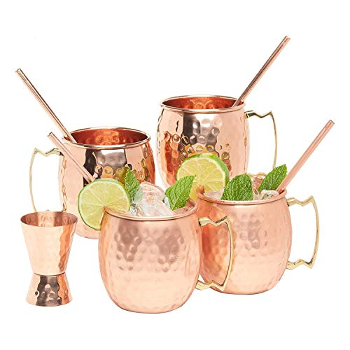 Kitchen Science Artisan Hand Crafted Moscow Mule Pure Copper Mugs 16 Ounce with BONUS  Your 4 pure copper cups set come with 4 copper Straws and a copper Jigger