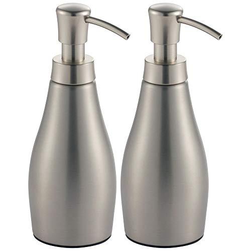 mDesign Modern Metal Refillable Liquid Soap Dispenser Pump Bottle for Bathroom Vanity Countertop, Kitchen Sink - Holds Hand Soap, Dish Soap, Hand Sanitizer, Essential Oils - 2 Pack - Brushed