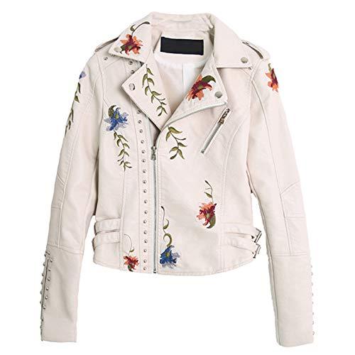 BOLANA Floral Lederjacke Damen Kunstlederjacken Lässiger Kurzmantel für Frühling, Herbst und Winter