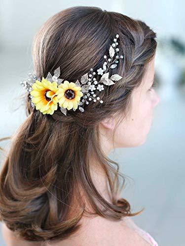Barogirl Wedding Hair Vine Accessory Sunflower Bride Headpiece Gold Flower Headband for Women and Girls (Silver)