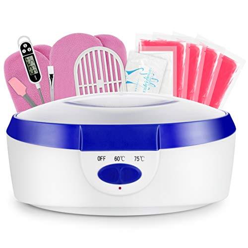 AYITOO Baño de parafina para manos y pies con accesorios, baño de cera eléctrico con cera de parafina, dispositivo de 265 W, color azul