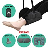 Airplane Footrest Made with Premium Memory Foam, Airplane Travel Accessories, Premium Travel Kit with Foot Rest, Neck Pillow, Eye Mask and Earplugs by RestWell (Black/Gray)