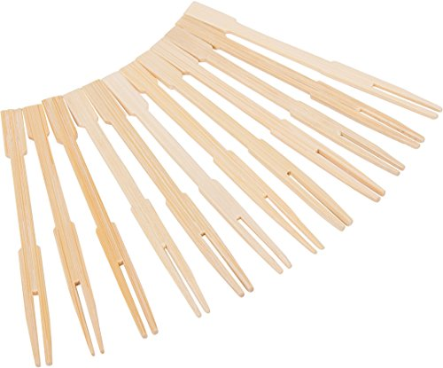 KingSeal 3.5 Inch Natural Bamboo Wood Two-Prong Cocktail Forks - 5 Packs of 100 Per Pack (500 pcs total)