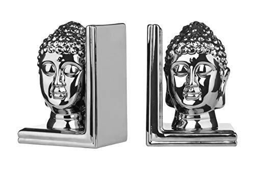 Premier Housewares Buchstütze Buddha, Keramik, 2er-Set, silber