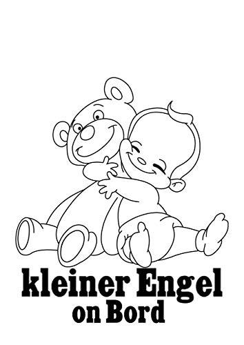 Aufkleber Baby mit Teddy und Spruch kleiner Engel on Bord Autoaufkleber