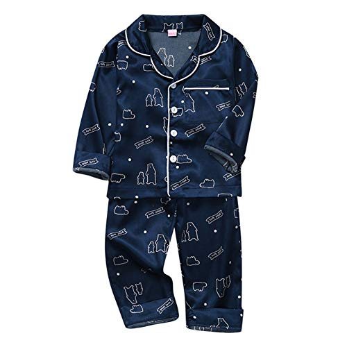 Gyratedream herfst baby kinderen cartoon dierenprint nachtkleding set, lange mouwen blouse tops + pants pyjama's, 1-6T Medium blauw