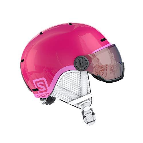 Casque de ski et snowboard pour enfant avec visière Salomon, Coque moulée + Coque intérieure en EPS, Taille M, Tour de tête 53-56 cm, Rose (Rose brillant / univ.), L39916200
