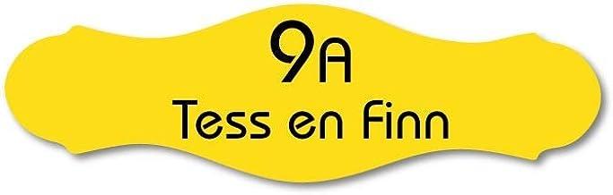 Naamplaatje geel sierlijk t.b.v. brievenbus, 10x3 cm