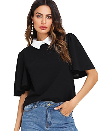 Romwe Women's Cute Contrast Collar Short Sleeve Casual Work Blouse Tops Pure Black Large