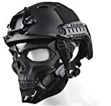 WLXW Tactical Airsoft Mask und Fast Paintball Helm, Vollgesichtsschutz Clear Goggle Skull Maske Dual...