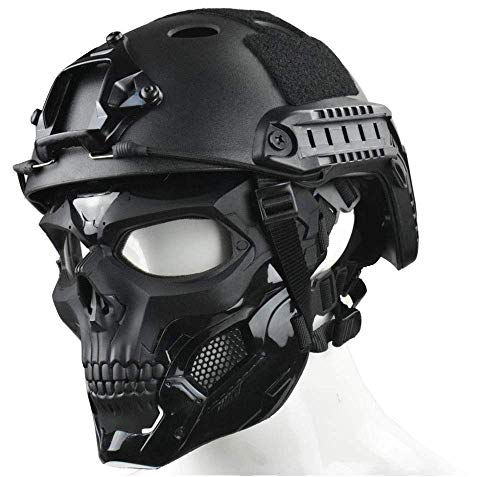 WLXW Tactical Airsoft Mask und Fast Paintball Helm, Vollgesichtsschutz Clear Goggle Skull Maske Dual Mode Wearing Design Verstellbarer Gurt, Jagdschießen Schutzausrüstung,Schwarz,M(52/60CM)