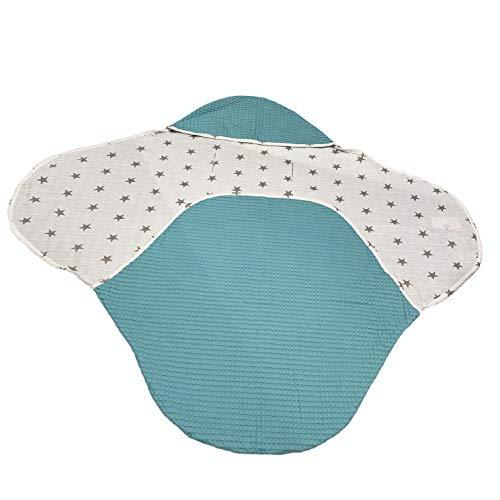 Lulando Maya Einschlagdecke für Babyschale Kinderwagen Autositz 90x80cm - universal baby Waffelstruktur Decke Autoschale Babydecke (Grün)