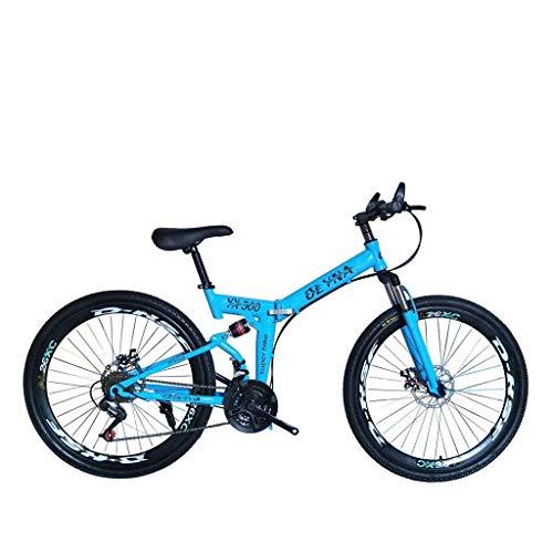 Qinmo Mountainbike Folding Fahrrad 26 Zoll 21/24/27/30 Geschwindigkeit weiche Dämpfungsscheibenbremse Erwachsene Variable Speed Bike mit 3 Rädern, 6 Räder (Color : Blue, Size : 27 Speed)