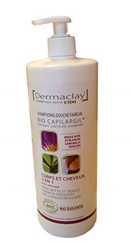 Dermaclay Shampoing douche Argile rose et blanche, Camomille et Rose 1L