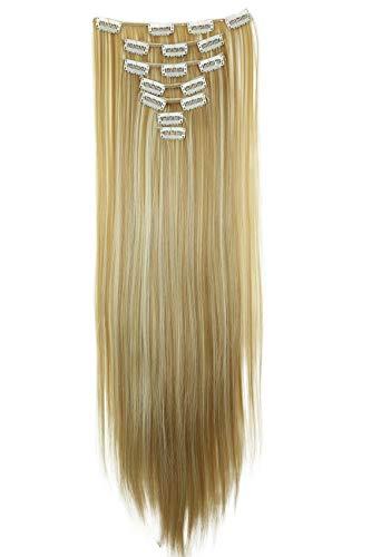 PRETTYSHOP XL 60cm 7 Teile Set CLIP IN EXTENSIONS Haarverlängerung Haarteil Glatt Blond Mix CE14
