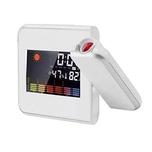 JIADUOBAO-S Digital-Projektionsuhr mit Innen- / Außen-Thermometer-Hygrometer, Wetterstation, Bunte Hintergrundbeleuchtung und USB-Aufladung, geeignet für das Schlafzimmer JIADUOBAO-S