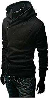 Mens Oblique Front Zipper Hoodies Tops GMF-3567 Black m