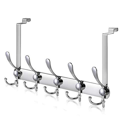 Türhaken für die Rückseite, LYLIN Türgarderobe Innenseite Türhakenleiste Edelstahl Ohne Bohren Kleiderhaken Tür Garderobenhaken mit 15 Haken (Silber)