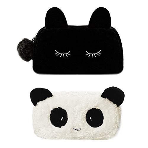 1 Kosmetiktasche für Katzen + 1 Kosmetiktasche für Panda, INTVN Kosmetiktasche Portabel Damen Niedlich Katze Reißverschluß Handtasche Geldbörse Federmäppchen