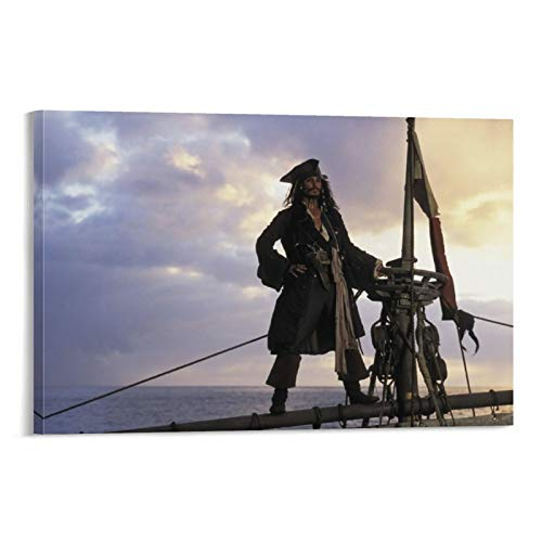 DRAGON VINES Kunstdruck auf Leinwand, Motiv: Fluch der Karibik, Captain Jack Sparrow, Johnny Depp, Segelbild, Kunstdruck, Wandkunst, Dekoration für Schlafzimmer, Wohnzimmer, 30 x 45 cm