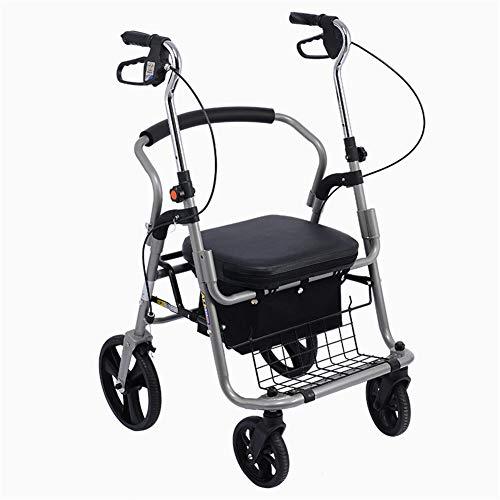 QINAIDI Andador con Ruedas y Aluminio con Bolsa de Transporte, fácil de Usar, diseño Compacto y Plegable Ligero de Seat