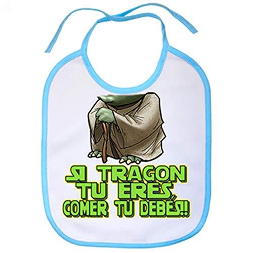 Babero cabezón Yoda si tragón tu eres - Celeste