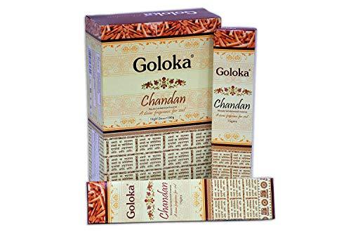 GOLOKA, Bastoncini di incenso/Masala Chandan, in Legno di Sandalo, 12 Pezzi