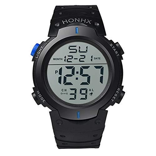 Heren Boy LCD digitaal stopwatch datum rubber sporthorloge lichtgevend polshorloge