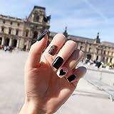 CSCH Uñas postizas 24pcs / set Blue Rhinestone Fashion Style Design False press on Nails Round Short Nail Tips Patch Art Tool Novia Manicura Acabado