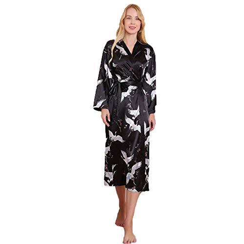 XYSQWZ Kimono con Estampado De Grúa Pijama De Satén De Encaje para Mujer Pijama con Correa En La Cintura Pijama Largo con Cordones Sexi De Seda De Imitación