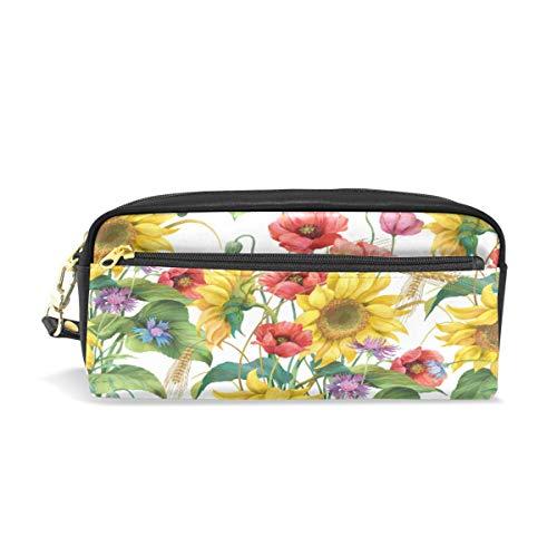 FELIZM Federmäppchen Blume Sonnenblume Ohren Bleistift Tasche Stifttasche Große Kapazität Student Schreibwaren Make-up Tasche für Jungen Mädchen Frauen Männer